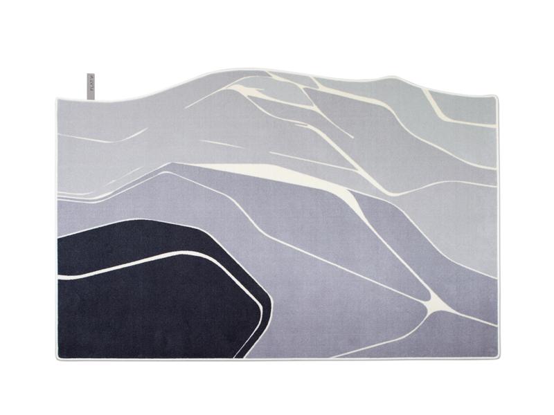 LANDSCAPE 001-Teppich mit grafischem Muster aus Wolle in Grau Schwarz