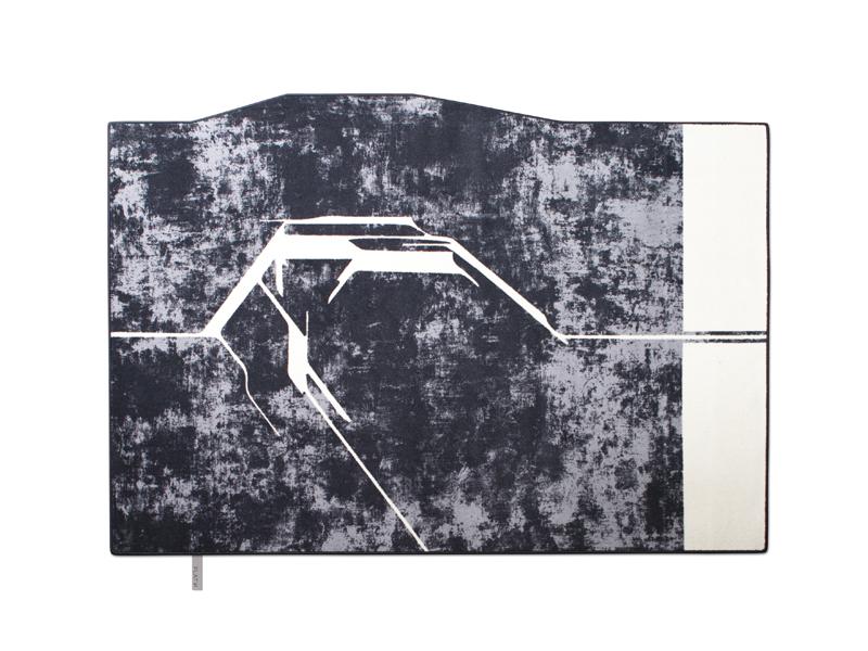 FRACTURE 001-SHADES OF GREY | Wollteppich in Marmoroptik mit ungewöhnlicher Aufteilung aus unserer SHADES OF GREY-Collection.