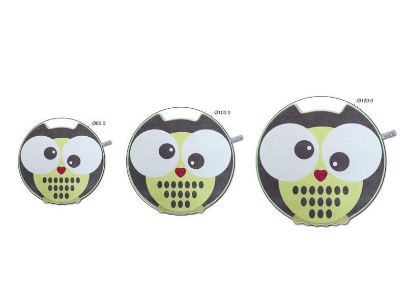 Die Eule 002 - D 80 | Runder Wollteppich für das Kinderzimmer