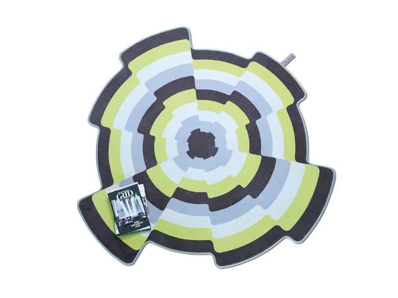 SLICES 001-Designteppich rund aus Wolle bunt für das Wohnzimmer