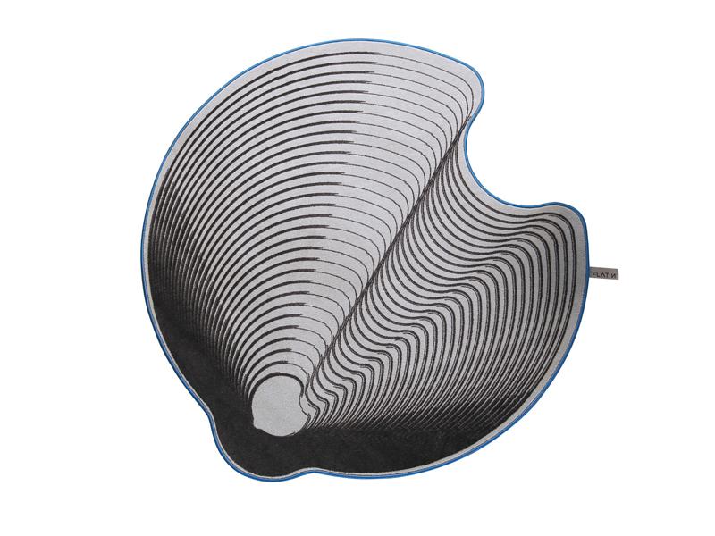 GROOVED CIRCLE 002-flatn-Designteppich grau anthrazit rund