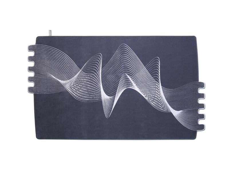FRINGE 003-Designteppich anthrazit grau gestreift